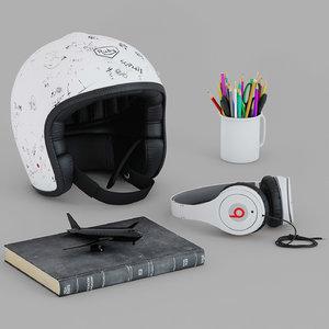 3d model earphones helmet