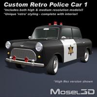 3d model police car retro
