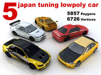 tuning japan car lowpoly collection