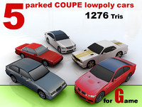 5 parked COUPE lowpoly cars