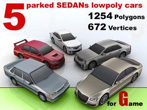 3d parked sedans cars 5 model