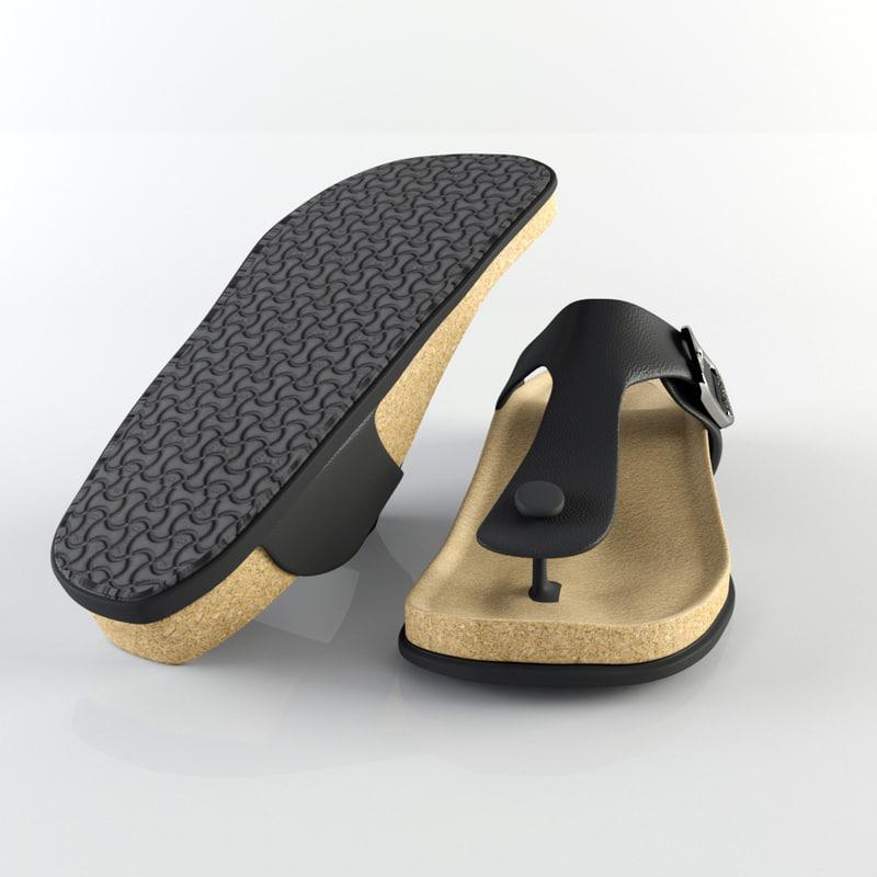 3d birkenstock slipper model