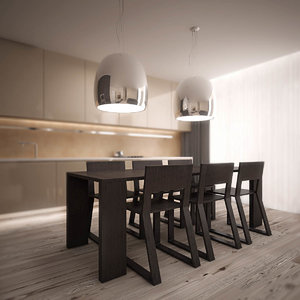 3ds max stylish dining set pedrali