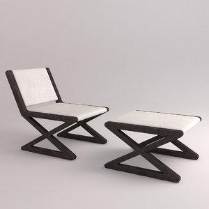 3d model x-chair x-stool pedrali