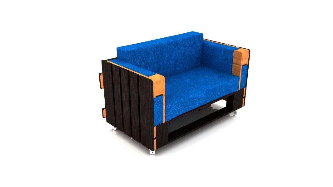 max sofa wheels blue