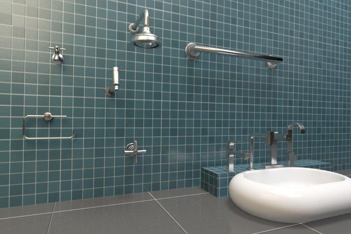 3d max bathroom metais banheiro