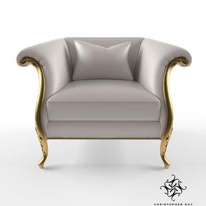 christopher guy montaigne armchair 3d model