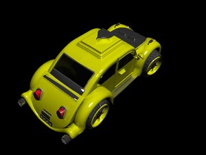 3d model yellow car