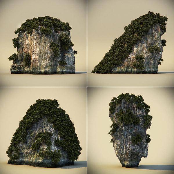 rocks plants 3d model