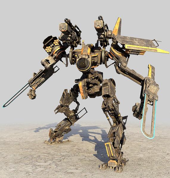 3d robot mech droid model