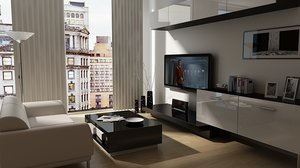 3d model scene living room
