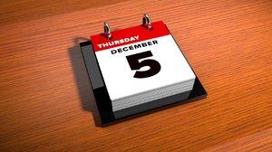 desk calendar c4d