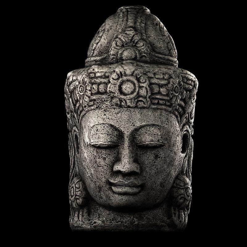 obj stone buddha head