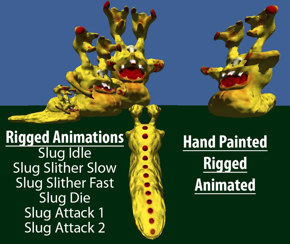 rigged slug monster animations x