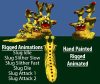 rigged slug monster animations x