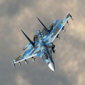 3d 3ds su-27 flanker ukrainian air force