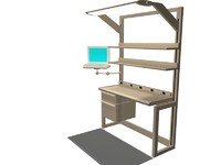 3d model office workstation computer