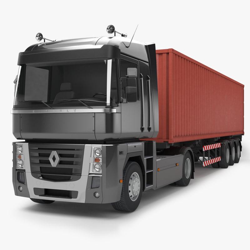 3dsmax renault magnum 500 trailer truck