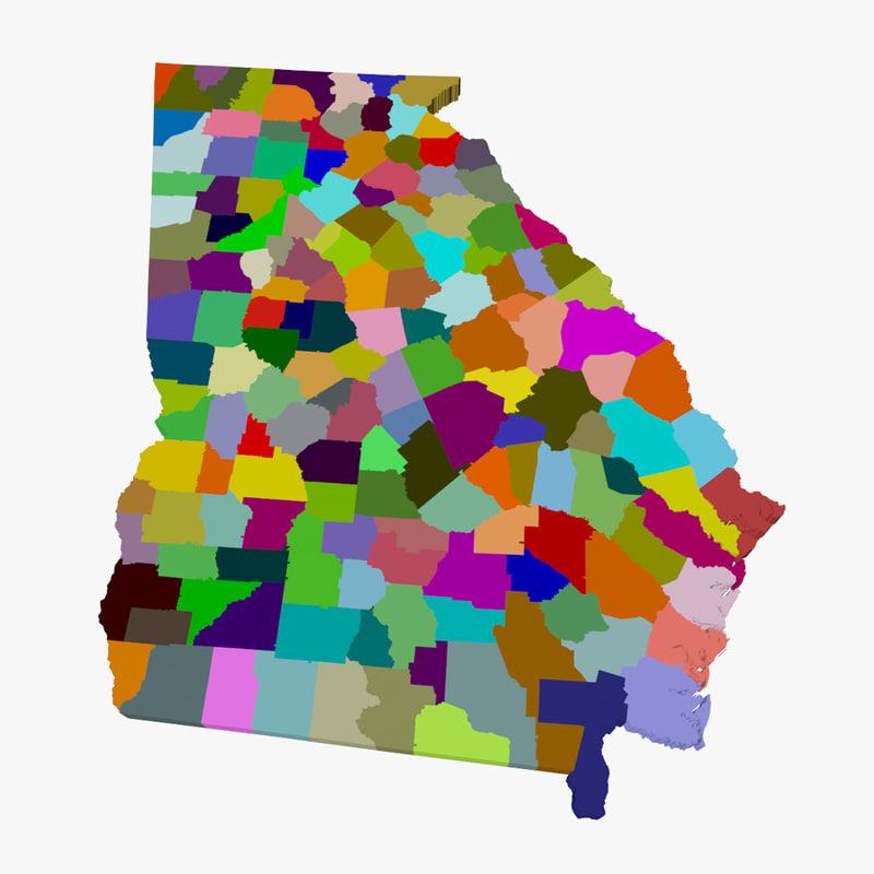 Counties Georgia 3d Model