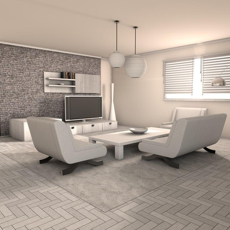 living room deluxe 3d max