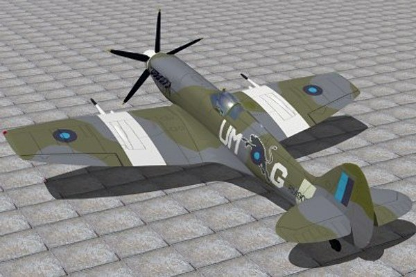 3d supermarine spitfire fighter xiv
