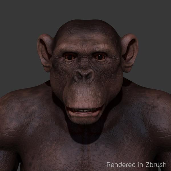 3dsmax chimpanzee chimp
