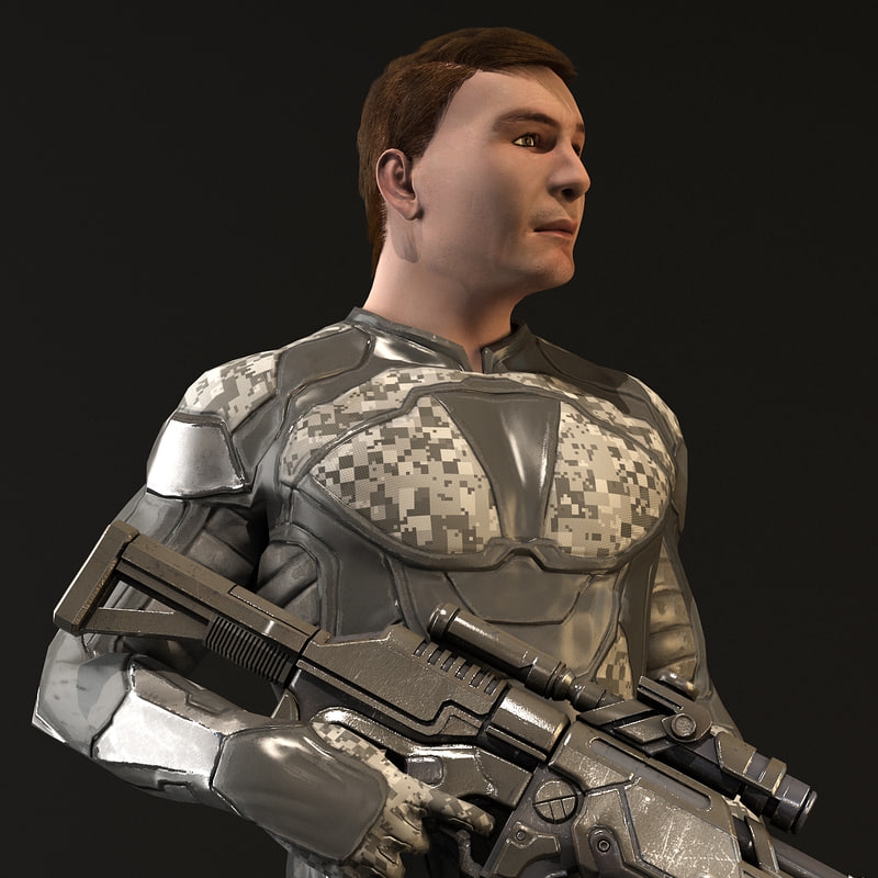 3d model realistic sci-fi gun