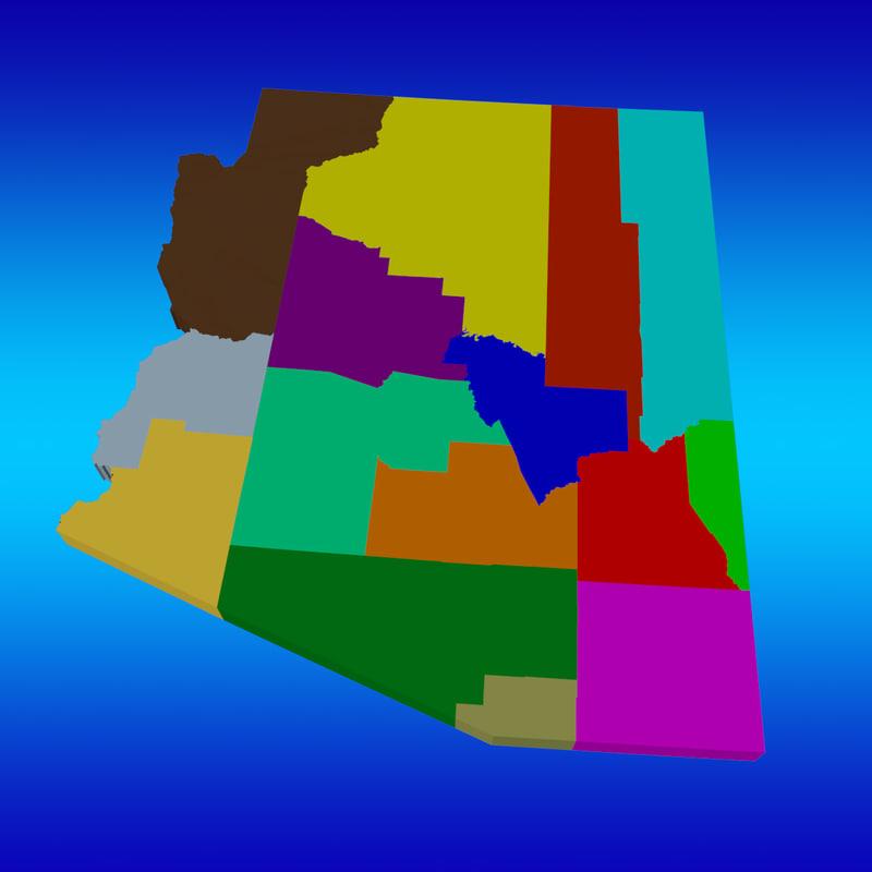 counties arizona 3d model