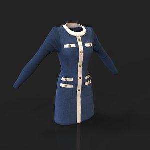 3d model vintage dress