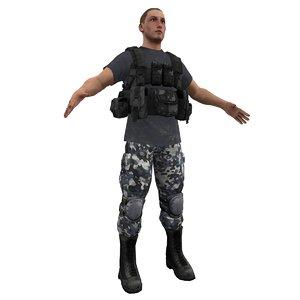 mercenary soldier 3d model