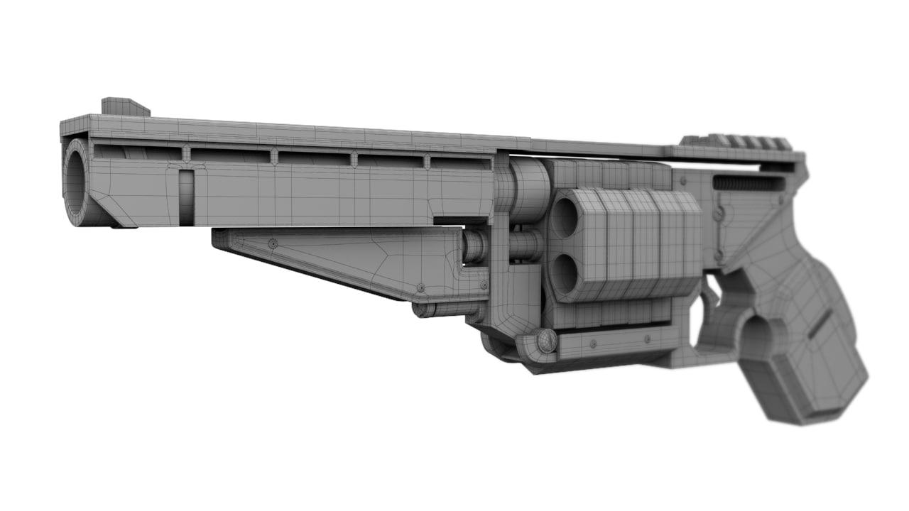 fictional sci-fi revolver 3d model