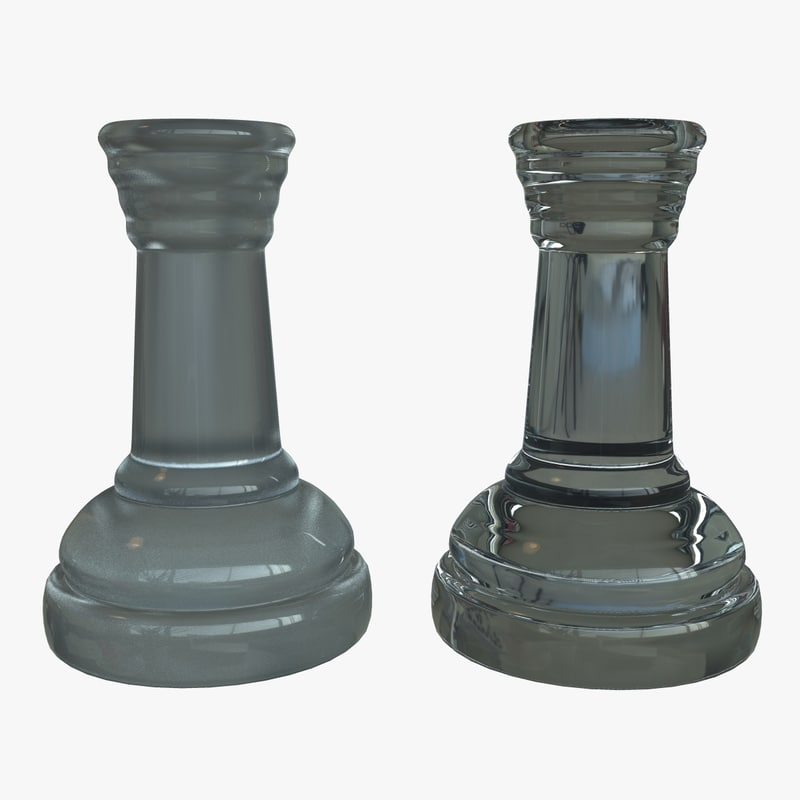 3d model rook chess pieces materials glass