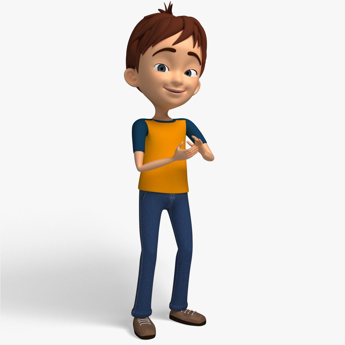 Cartoon Characters 3d Model : Cartoon character kid d model