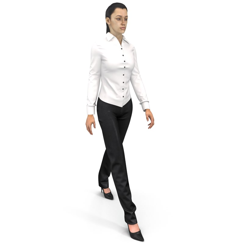 woman wearing shirt slacks max