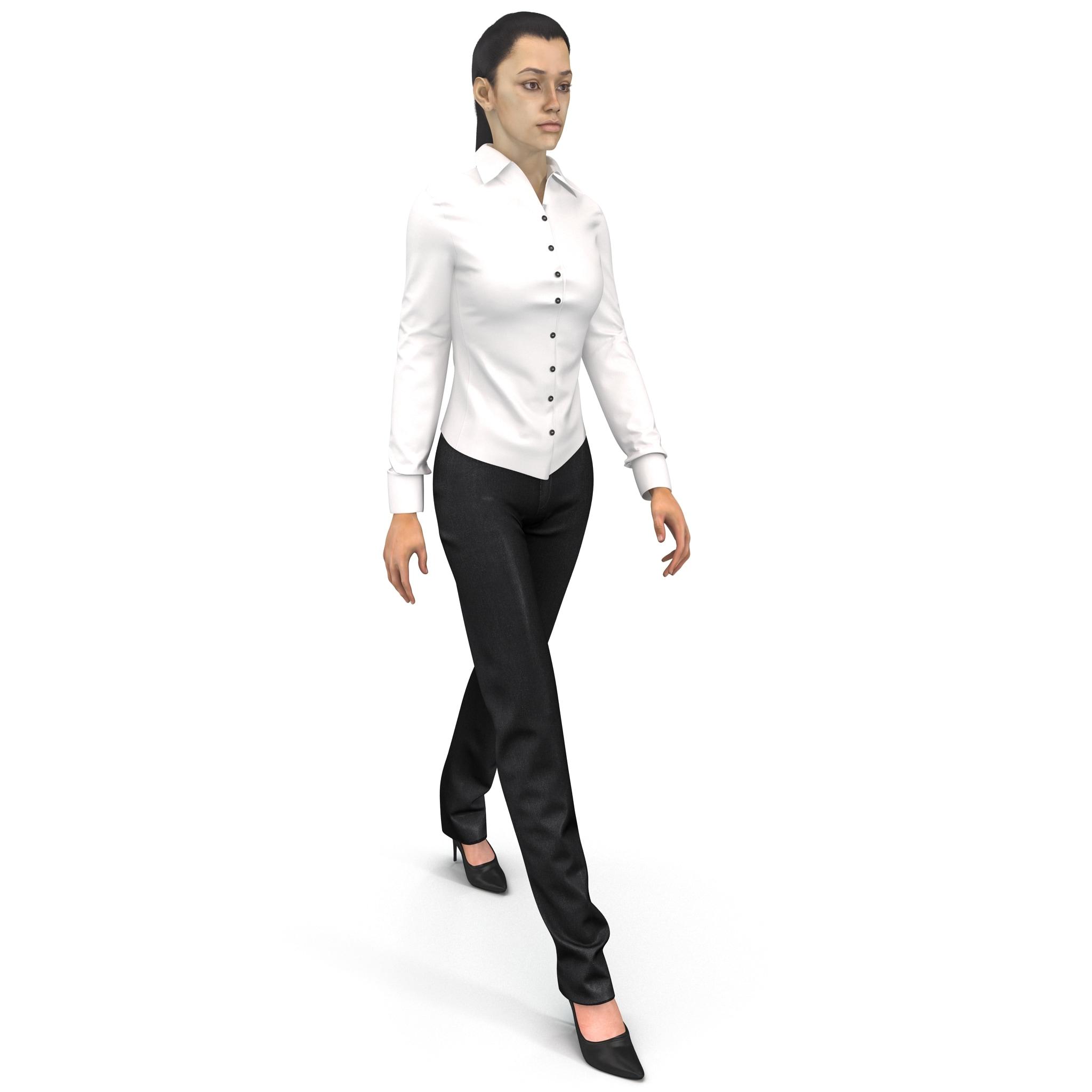 woman wearing shirt slacks max