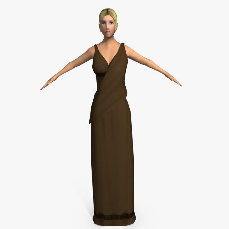 3d model ancient roman woman