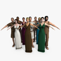 Ten Low Poly Roman People