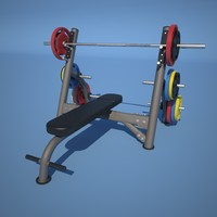 matrix olympic flat bench 3d model
