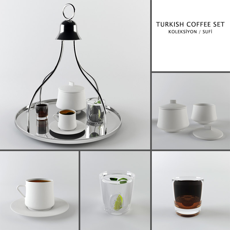 3d turkish coffee set model