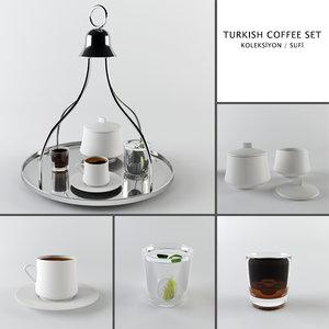 3d turkish coffee set model