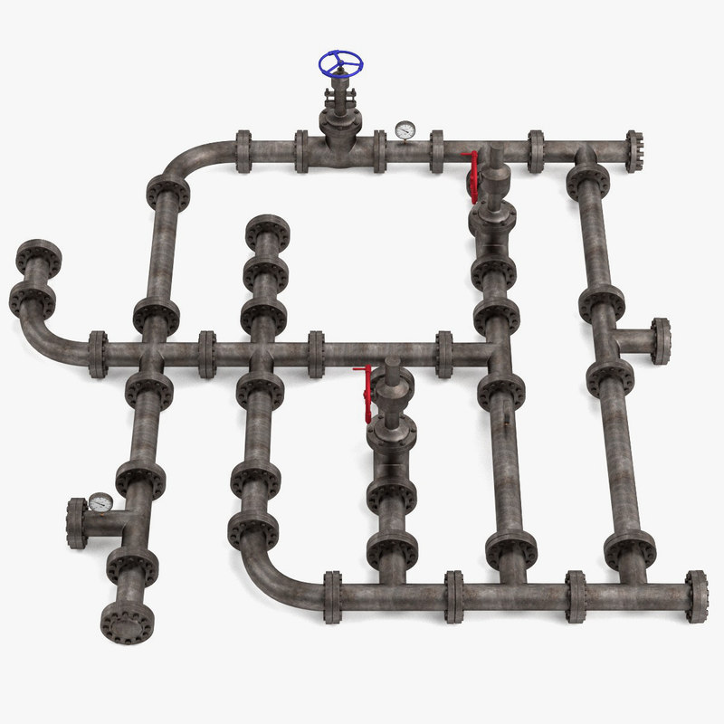 industrial pipes scene 3d x