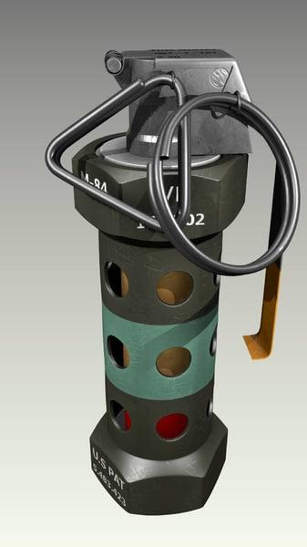 3d model grenade stun