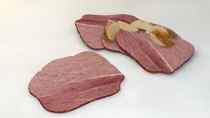ham slices apples c4d