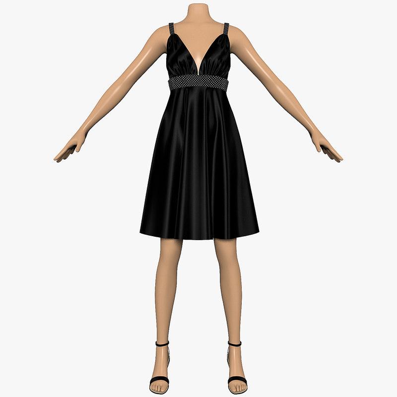 dress sequins female mannequin 3d max