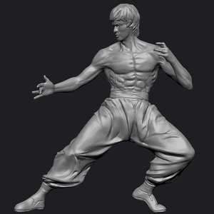 3d bruce lee statue zbrush
