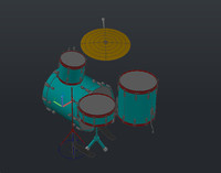 Drum Kit 3D AutoCAD Model