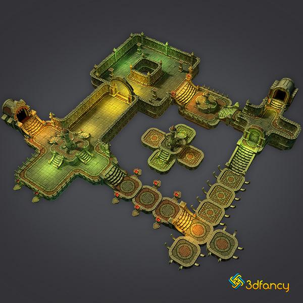 3d model dungeon cloudy set