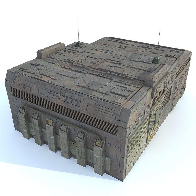 3d model sci fi futuristic building