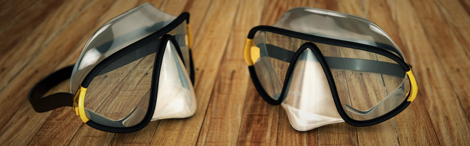 3d model of scuba snorkeling mask