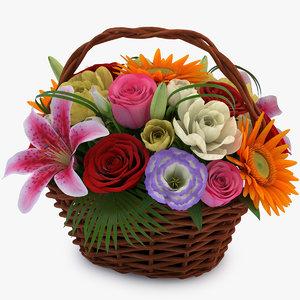 3d bouquet basket 01 model